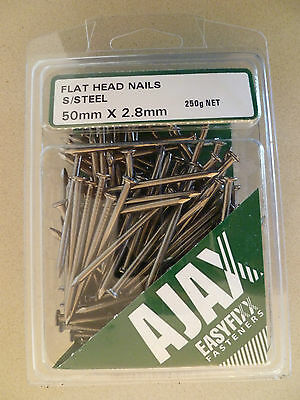 New Flat Head 50mm x 2.8mm 316 Stainless Steel Nails 250 Gram Pack  (approx 100)