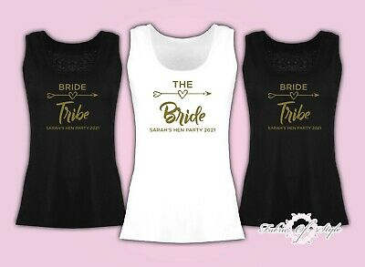 Vest Tank Top Hen Do Party Bride Tribe 2018 Personalised T-shirt Ladies Female