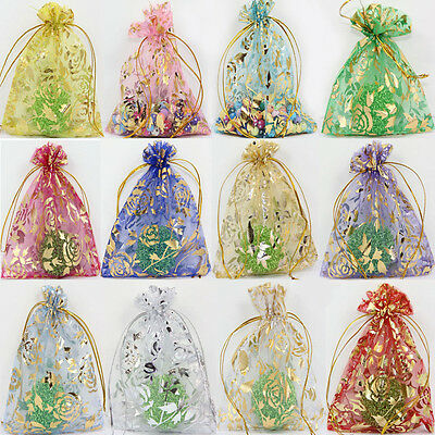 Wholesale Mix Rose&Gold Organza Wedding Favor Xmas Party Gift Candy Bags Pouches