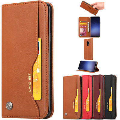 Magnetic Leather Wallet Case Card Slot Shockproof Flip Cover For Samsung Huawei