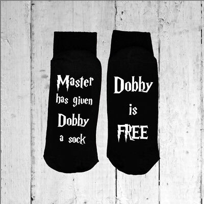 Dobby is Free Black Socks Printed on the Sole Choose from 25 Print Colours
