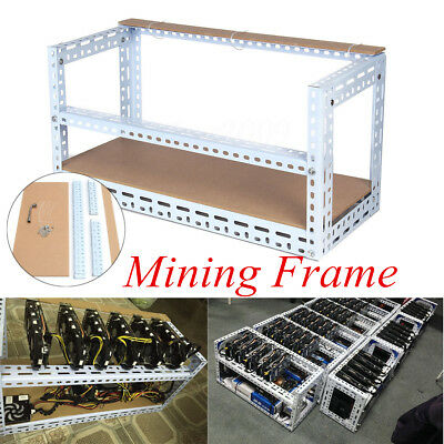 6 GPU Rig Crypto Coin Open Air Frame Mining Case Steel Shelf Set For Bitcoin