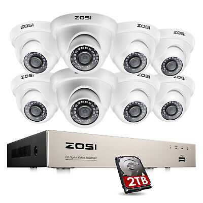 ZOSI 8CH 1080P DVR 2MP Outdoor Dome Day Night Security Camera System 1TB 2TB