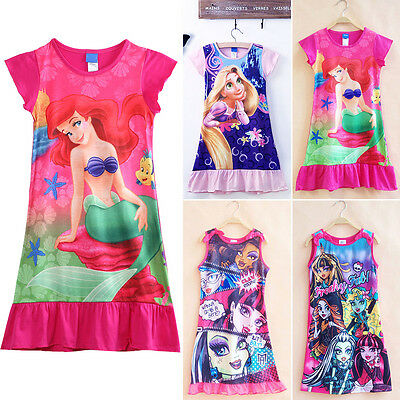 Toddler Kids Girls Cartoon Dress Princess Pajama Skirts Nightie Nightdress 6-13Y