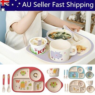 5 Set Bamboo Fiber Baby Plate Bowl Cup Forks Spoon Kids Food Feeding Tableware