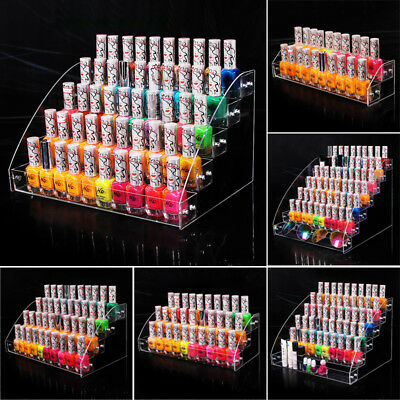 Nail Polish Acrylic Clear Makeup Display Stand Rack Organizer Holder Storage box