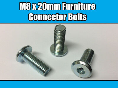 M8 x 20mm Furniture Connector// Connecting Bolts Hex// Allen Key Drive Flathead