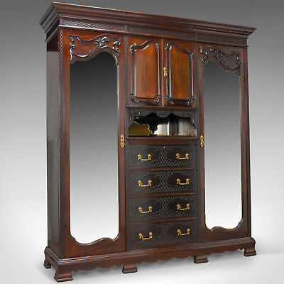 Antique Wardrobe, Carved Mahogany, English, Compactum, Edwardian Circa 1910