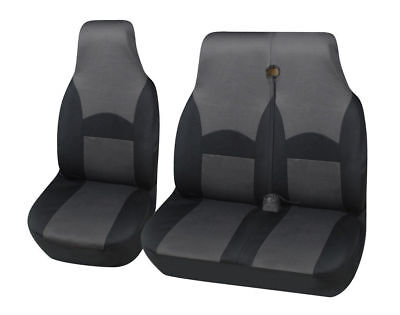 For Ford Transit Mk7 06-13 Custom Deluxe Ohio Black-Grey Fabric Van Seat Covers