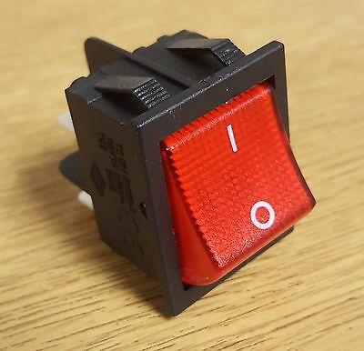 Illuminated Red Rocker Switch 240V AC 4 PIN Double Pole On Off 16A