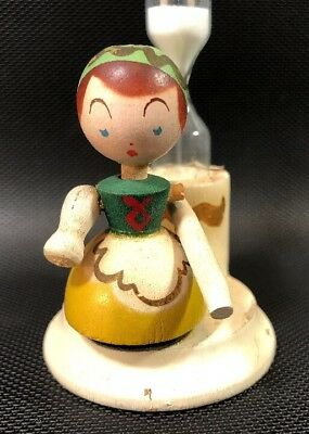 Vintage Wooden Figural Egg Timer Hand Painted Girl With Rolling Pin Unusual 5R