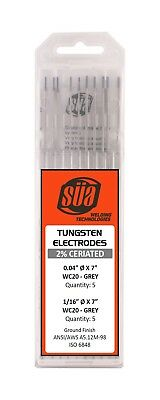 "SÜA 2% Ceriated Tungsten Electrode Mixed Sizes 0.04"" & 1/16"" x 7"" - (Grey  Tip)"
