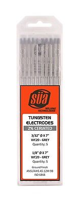 "SÜA 2% Ceriated Tungsten Electrode Mixed Sizes 3/32"" & 1/8"" x 7"" - (Grey Tip)"