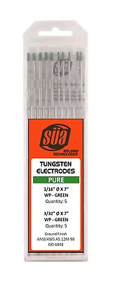 "SÜA - Pure Tungsten Electrode - Mixed Sizes - 1/16"" & 3/32"" x 7"" - (Green Tip)"