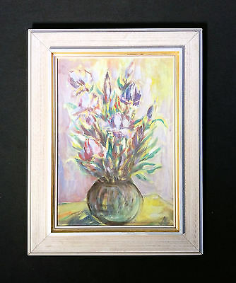 Pretty Flower Painting with Tulpen. Original Old Oil Painting, Still Life Monogr