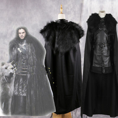 IT Game of Thrones Costume Mens Dark Barbarian Jon Snow Fancy Dress Cloak Outfit