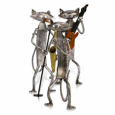 Collectible Cat Figurine Statue Animal Home Decoration Metal Instrument Cats Set