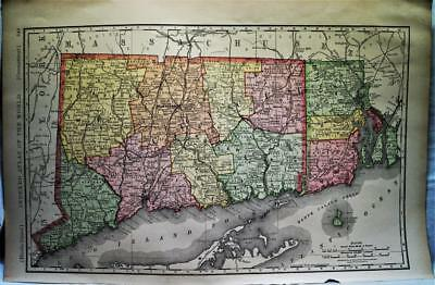Rand Mcnally Connecticut & Rhode Island Atlas Map Page 1888 Vintage Large