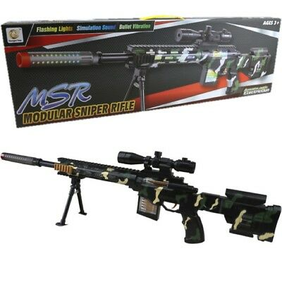 Kids Large Sniper Rifle Toy Gun With Lights Sound Vibration Boys Army Role Play