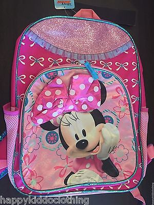 "Backpack Disney Minnie Mouse Bow tulle Pink 16"" Large School Bag"
