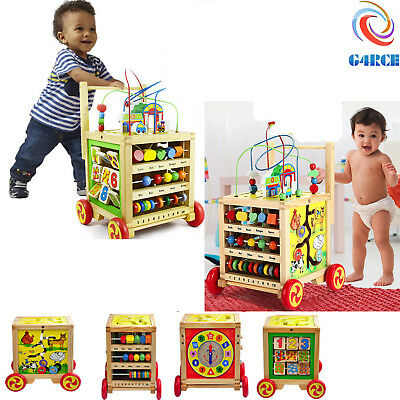 G4RCE Wooden Activity Stroller Push Along Toddler Baby Walker With Activities UK