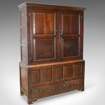 Late Georgian Antique Press Cupboard, English, Oak, Housekeeper's Cabinet c.1780