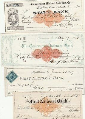 "Four (4)  Old Checks From The 1870""s"