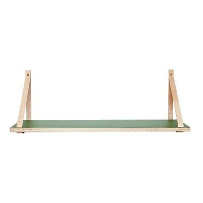 Green Shelf w / Leather Strap Wood Nature Danish Design by Hubsch
