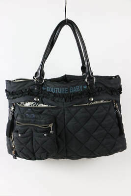 Juicy Couture Black Quilted Nylon Leather Classic Baby Diaper Bag Tote Bag