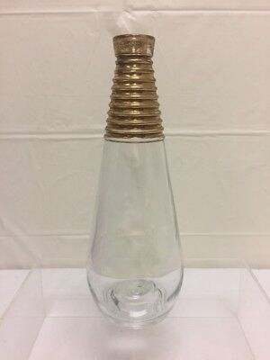 "Hand Blown Vintage Glass Antique Vase With Painted Gold Top 10 1/2""Hx3""W"
