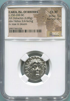 Caria, Isl of Rhodes Greek 7 Wonders Ancient. 250-200 BC. NGC Choice XF