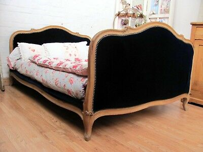 STRIKING VINTAGE FRENCH UPHOLSTERED DOUBLE BED - c1940