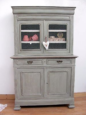 Charming Antique French Painted Oak Dresser - C1880