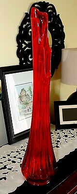 "Red Glass Vase Vintage 28"" tall"