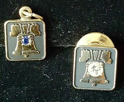 VINTAGE GOLD BELL TELEPHONE SERVICE 10K YELLOW GOLD PINS .15ct DIAMOND
