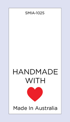 Hand Made with Love Red Heart MIA Sewing Care Label on Soft Satin 5 Pack Sizes