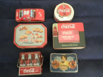 6 Coca-Cola Collectible Tin Lot:Coke 6 pack of Bottles, Car,Photo box- nice mix