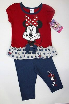 Disney Junior Girls' Minnie Mouse 2 Piece Top and Tights Set 18M NWT