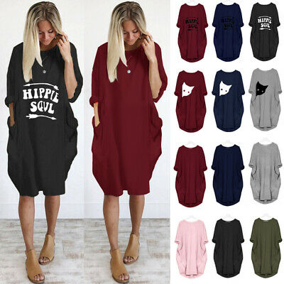 UK Women Tops Jumper Dress Plus Size Long Sleeve Crew Neck Baggy Casual Shirts