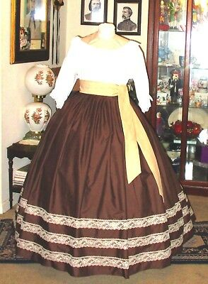 Civil War Dress~Victorian Style 100% Cotton Solid Chocolate Brown Skirt & Sash