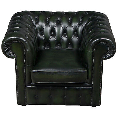 Antique Style Vintage Green Tufted Leather Club Arm Chair Buttoned Armchair FS!