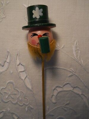 Vintage St Patrick's Day Leprechaun Wood Party Floral Cake  Pick