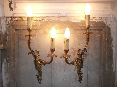 French a pair of patina gold bronze wall light sconces ,chateau , antique