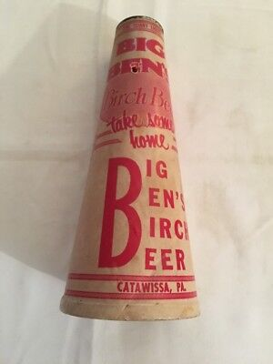 Old Big Ben Birch Beer Qt Wax Soda Cone Catawissa Pa Sealed Kone Sealright VTG