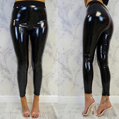 New Womens Black PU High Waisted Vinyl Skinny Shiny Wet Look Ladies Trousers