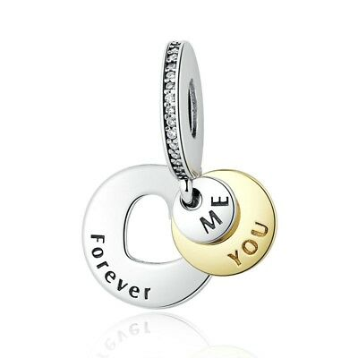NEW Me You Forever Heart Dangle Charm CZ Genuine Sterling Silver 925 Pendant UK