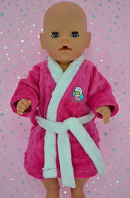 """Play n Wear Doll Clothes To Fit 17"""" Baby Born HOT PINK MINKY DRESSING GOWN"""
