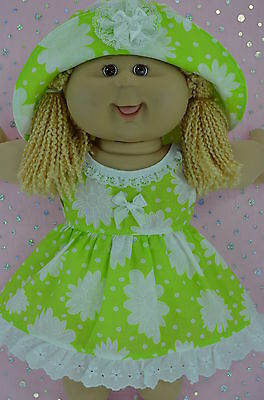 """Play n Wear Doll Clothes To Fit 16"""" Cabbage Patch LIME/WHITE FLOWER DRESS~HAT"""