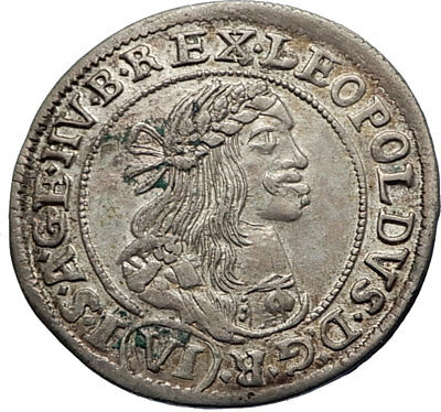 LEOPOLD I the Hogmouth HUNGARY King 1672 Silver Coin MADONNA JESUS CHRIST i66617