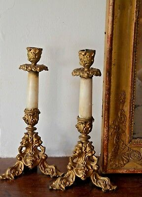Pair of antique French bronze and alabaster-like candle holders ornate lion feet